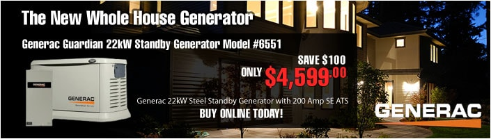 NEW! Generac Guardian 22kW Standby Generator NG/LP Aluminum Pre Packaged with 200 Amp SE ATS