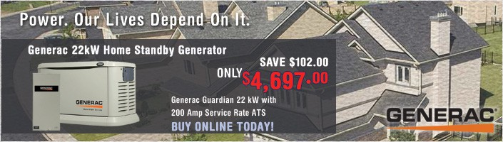 Generac Guardian 22kW Standby Generator NG/LP Aluminum Pre Packaged with 200 Amp SE ATS