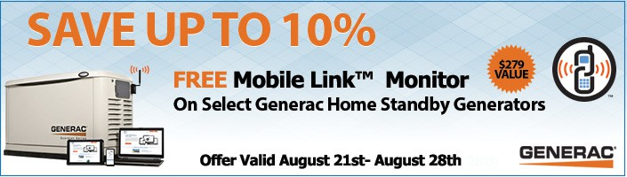 Save up to 10% & Free Mobile Link with Select Generac Standby Generators