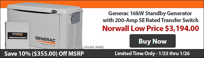 10% Off MSRP Generac 16kW Model 6462