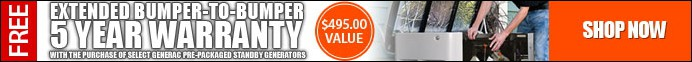 Limited Time: Free 5 Year Bumper To Bumper Extended Warranty with the purchase of this Generac Generator