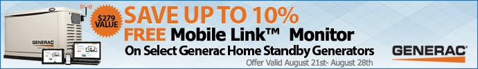 Save up to 10% Free Mobile Link Monitor on Select Generac Generators