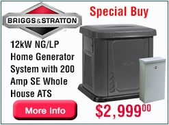 Briggs 12kW  Home Generator Special Buy for a Limited Time