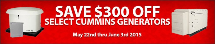 $300 Off Select Cummins Generators