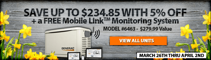 5% Off Select Generac Generators + Free Mobile Link | Ends April 2nd