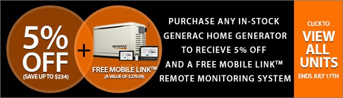 5% Off & Free Mobile Link with Select Generac Standby Generators