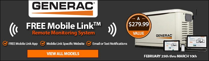 Free Mobile Link with select Generac Generator Models | Ends March 10th