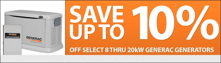 Instant Cash Savings on Select 8 thru 20kW Generac Home Standby Generators