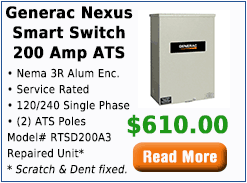 Generac Nexus Smart Switch 200 Amp ATS w/Service Disconnect 120/240 Single Phase NEMA 3R Cabinet