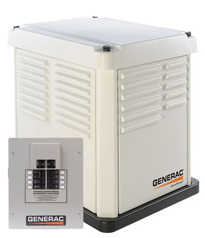 Generac's 7kW core power unit pictured with 8-position 50-amp ATS.