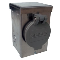 50 Amp 125V 250V Aluminum Power Inlet Box with Spring Loaded Flip Lid on Front By Generac