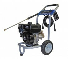 Model WP3000 (EPA & CARB compliant) gas pressure washer includes the reliable Kohler Courage SH265 196cc OHV engine and durable maintenance free brass Annovi Reverberi pump. Unit comes ready to use out of the box and includes a 30' professional grade high pressure hose, five precision spray tips with quick connect nozzle connections, lightweight ergo-trigger gun & stainless steel wand, oil, soap bottle siphoning hose, and an industry leading 3-year limited warranty.