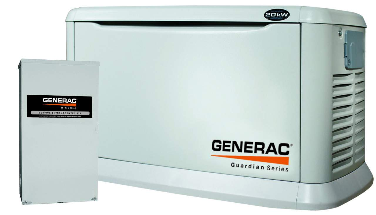 20kw Generac Guardian 5875 - 20kW Standby Generator (Aluminum) Pre-Packaged  w/200 Amp Service Rated Automatic Transfer Switch
